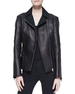 Alexander Wang Fitted Leather Biker Jacket, Raven Black