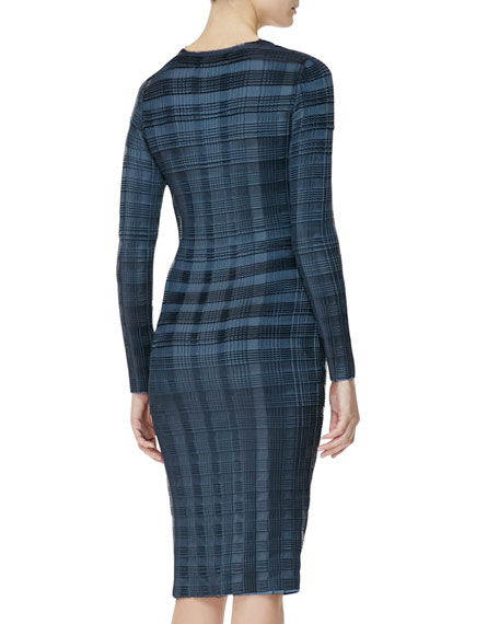 Long-Sleeve Pleated-Plaid Sheath Dress