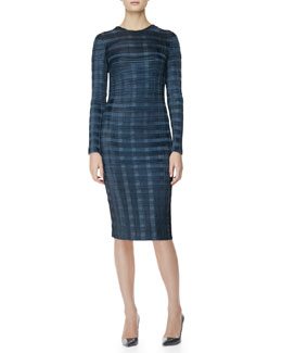 Alexander Wang Long-Sleeve Pleated-Plaid Sheath Dress