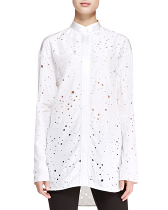 Alexander Wang Long-Sleeve Tie-Back Distressed Top