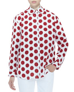 Burberry Prorsum Polka-Dot Blouse, Windsor Red
