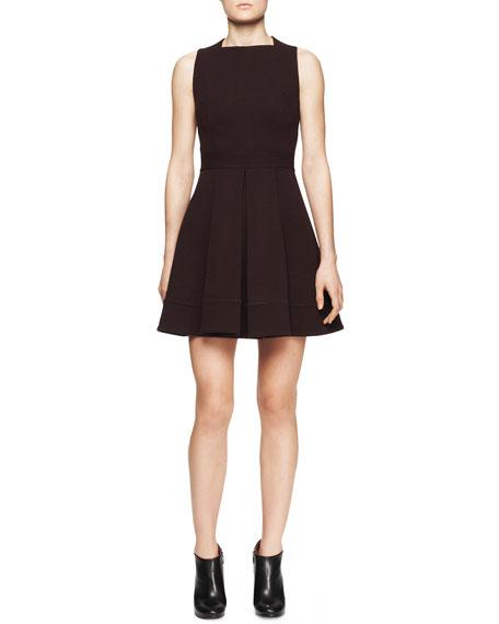 Sleeveless Wool Jersey Flare Dress