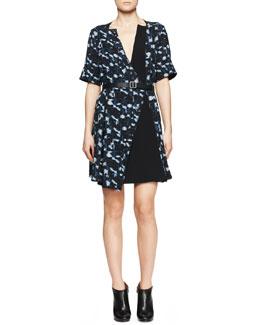 Proenza Schouler Printed Belted Half-Sleeve Dress