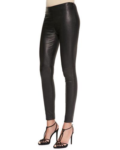 Abbey Stretch Leather Skinny Pants, Black