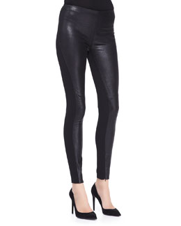 Ralph Lauren Black Label Jamie Leather/Stretch Pants, Black