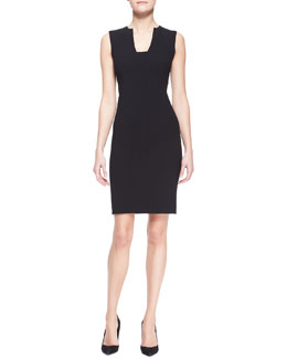 Ralph Lauren Black Label Danielle Stretch Wool Sheath Dress, Black