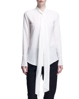 Chloe Long-Sleeve Tie-Neck Blouse, Milk White