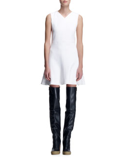Chloe Crepe Sleeveless Dress, Milk White