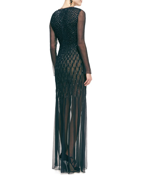 Long-Sleeve Embellished Chiffon Evening Gown