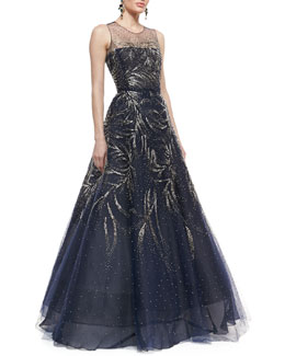Oscar de la Renta Sleeveless Embellished Ball Gown