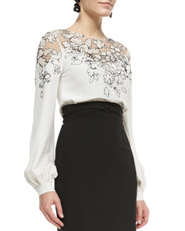 Oscar de la Renta Lace-Embellished Silk Top
