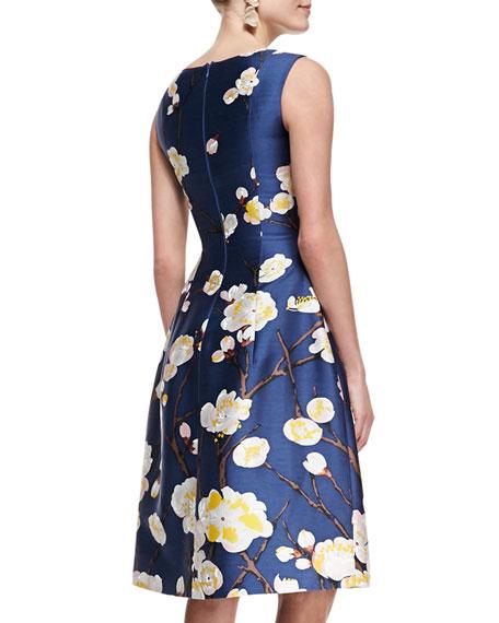 Sleeveless Floral Dress, Navy