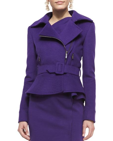 Belted Wool-Blend Peplum Moto Jacket, Violet
