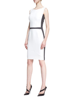 Narciso Rodriguez Sleeveless Square-Neck Sheath Dress with Contrast Back, White/Gray