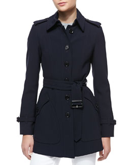 Burberry London Short Tailored Trenchcoat w/ Belt, Ink