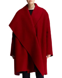 Lanvin Full-Lapel Draped Wool-Mohair Coat