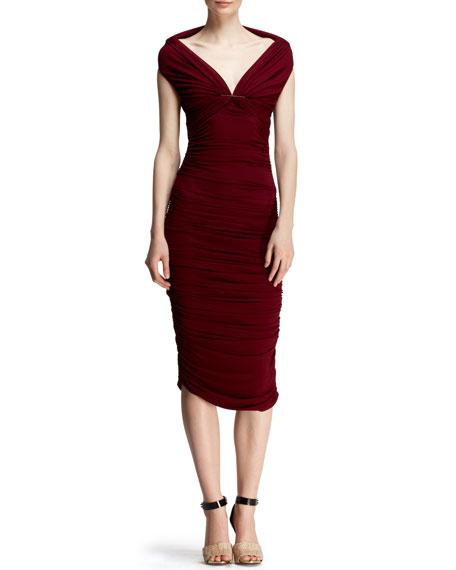Ruched Off-Shoulder Pin Dress