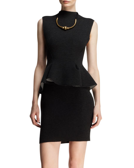 Sleeveless Neoprene Peplum Dress