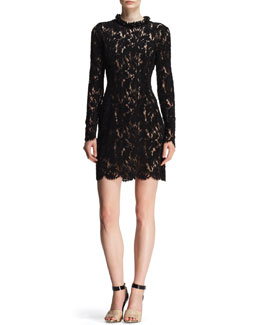 Lanvin Velvet Lace Embellished-Neck Dress