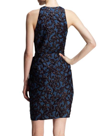 Bow-Waist Liquid Jacquard Dress