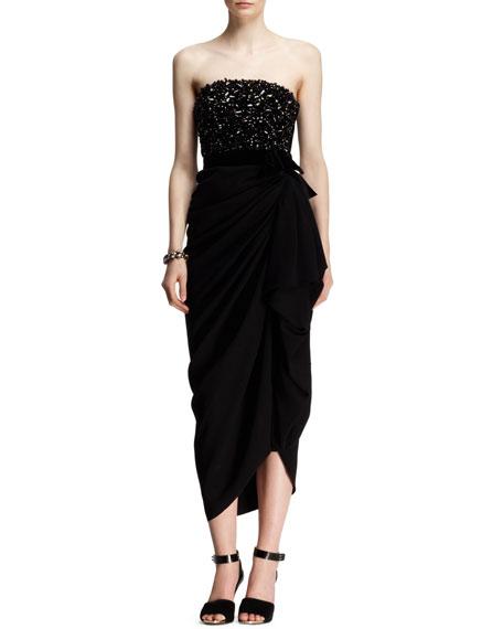 Strapless Beaded-Bodice Drape Dress