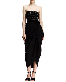 Lanvin Strapless Beaded-Bodice Drape Dress