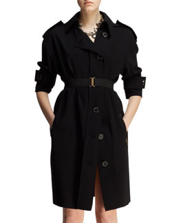 Lanvin Belted Techno Trench Dress