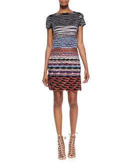 Missoni Short-Sleeve Knit Mini Dress, Red/Blue/Multi