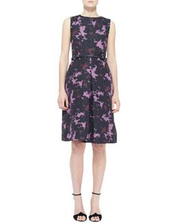 Burberry London Sleeveless Printed Front-Pleat Dress
