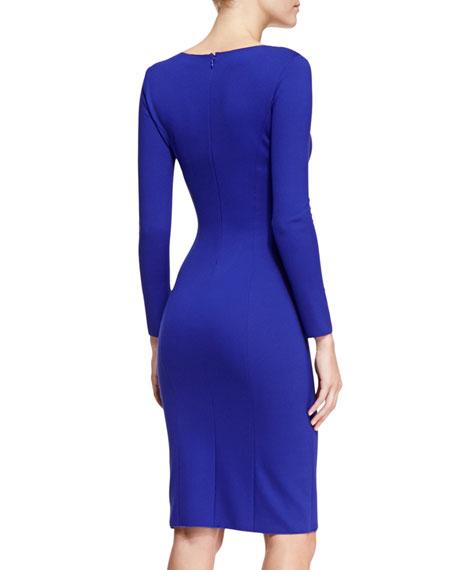 Jersey Surplice-Neck Long-Sleeve Dress