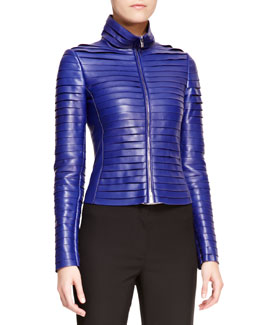 Armani Collezioni Tiered Scuba Leather Zip-Front Jacket