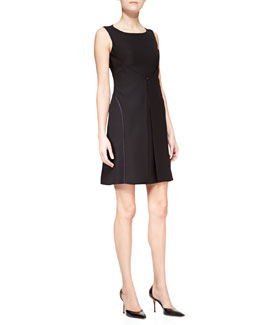 Armani Collezioni Techno Cady Sleeveless Open-Back Dress