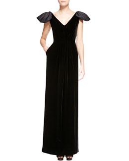 Armani Collezioni Satin-Poof Cap-Sleeve Velvet Gown