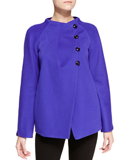 Armani Collezioni Wool Asymmetric Tulip-Sleeve Caban Coat
