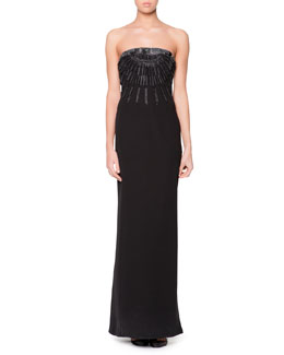Giorgio Armani Strapless Beaded Origami Folded Gown, Black