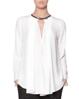 Giorgio Armani Leather-Buckled Silk Blouse, White