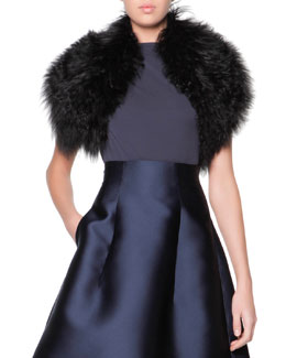 Curly Lamb Shearling Fur Collar, Black