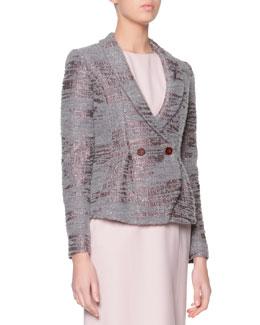 Sequined Boucle Shawl-Collar Jacket, Gray/Mauve