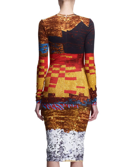 Mosaic-Print Sheath Dress