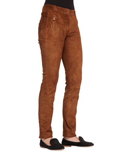 Ethan Stretch-Suede Slim Pants