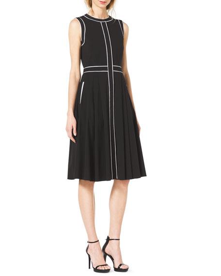 Contrast-Trim Stretch-Cotton Dress