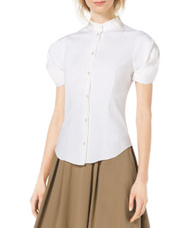 Michael Kors  Twist-Sleeve Stretch-Cotton Blouse