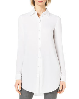 Michael Kors  Long-Sleeve Silk Blouse