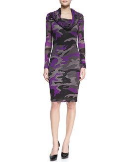 Jean Paul Gaultier Long-Sleeve Camo Knit Dress, Magenta/Multi