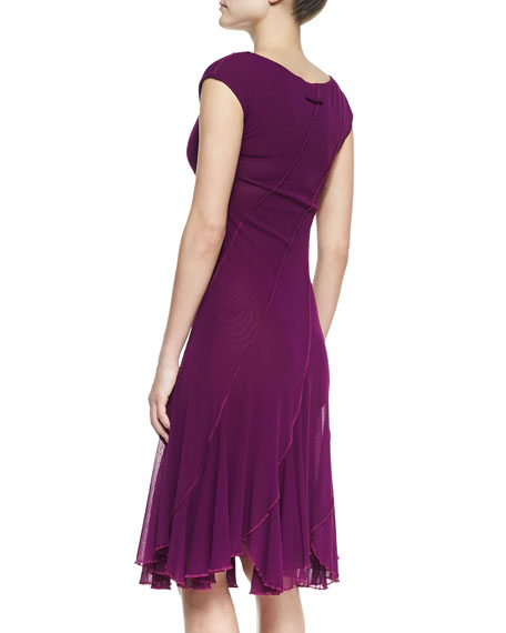 Bias Seamed Magenta Dress, Plum