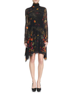 Jean Paul Gaultier Long-Sleeve Turtleneck Floral-Print Dress, Brown/Multi