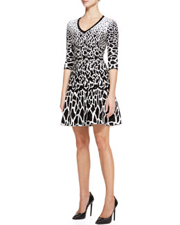 Roberto Cavalli Giraffe-Print Full-Skirt Dress