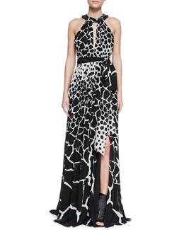 Roberto Cavalli Halter-Neck Giraffe-Print Gown, Black/White