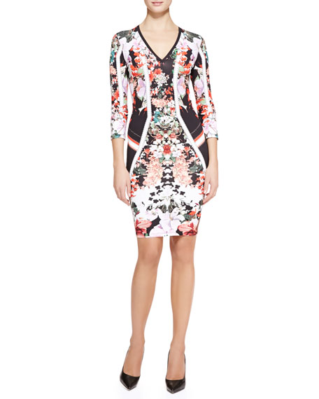 Eden Mixed-Print Fitted Dress
