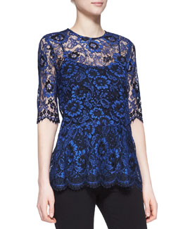 Lela Rose Short-Sleeve Lace Peplum Blouse